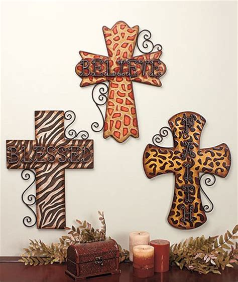 blessed believe faith animal print 18 quot metal cross wall