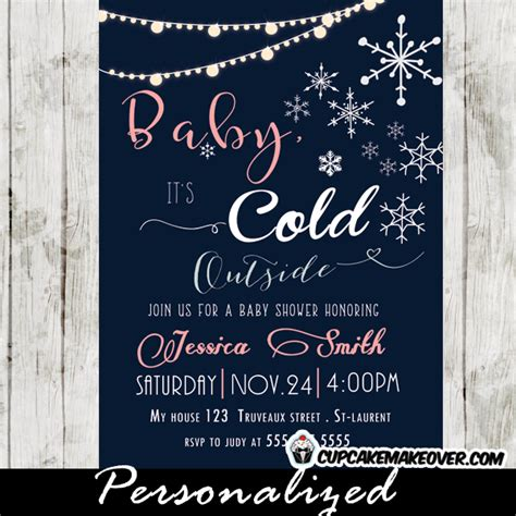 Snowflake Baby Shower Invitations Coral Pink Girls Backyard String Lights Cupcakemakeover Baby It S Cold Outside Invitation Template