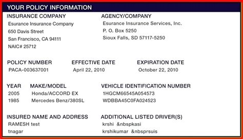 safe auto insurance card template insurance card auto insurance card
