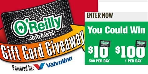 Oreillys Gift Card - o reilly auto parts 10 gift card instant win giveaway 17 500 winners 35 grand