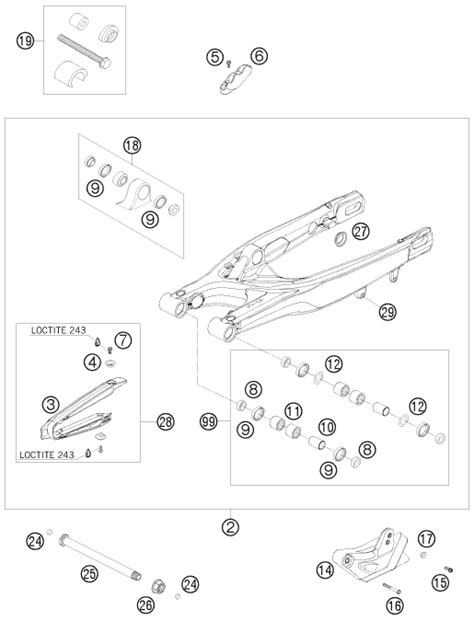Ktm Parts Fiche Ktm Fiche Finder Swing Arm Spare Parts For The Ktm 250 Xcf