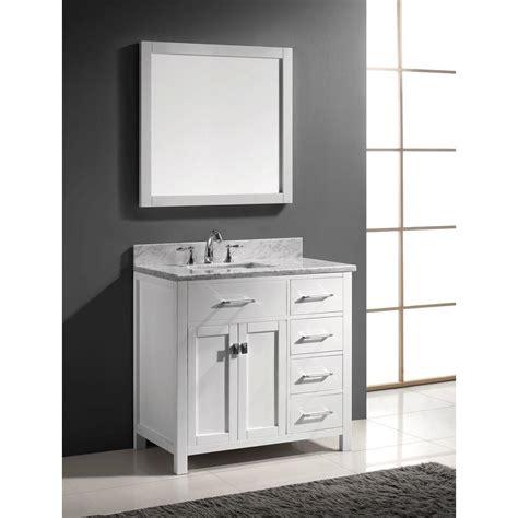 Bathroom Vanity Only Abodo 36 Inch White Caroline Parkway Single Sink Bathroom Vanity With Italian Carrara Marble