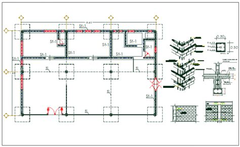 layout plan for foundation floor column foundation plan layout detail view dwg file