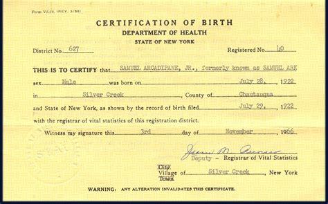Are Birth Certificates Record In New York Samuel Ark Birth Certificate Shows Name As Samuel Ark Born July 28 1922