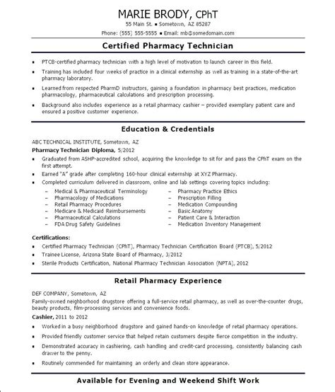 Entry Level Pharmacy Technician Resume by Free Pharmacy Technician Resume Free Sles Exles