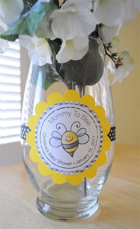 24 baby shower favor sticker labels to bee theme