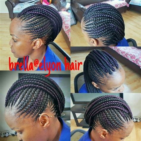 embra hair styles cornrow mohawk with a hint of purple braids pinterest