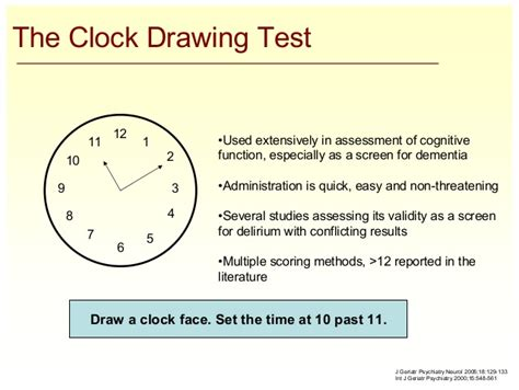 clock drawing test overview of confusion delirium for clinicians july 2007