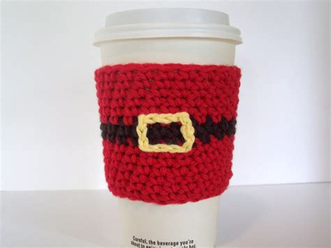 Items similar to Santa Coffee Cup Cozy / Crochet Cotton Cup Sleeve on Etsy