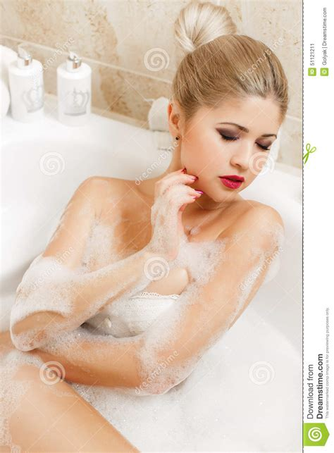 bathroom blonde beautiful blonde takes a bath stock photo image 51121211