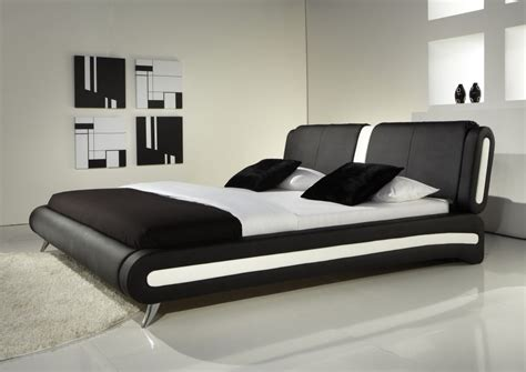 Cheapest Place To Buy A Bed Cheap New Modern Black White Detail Faux Leather Designer