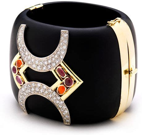 Lust Alert Gold And Cuff By Kara Ross by Kara Ross Horseshoe Jet Cuff With Pink Tourmaline