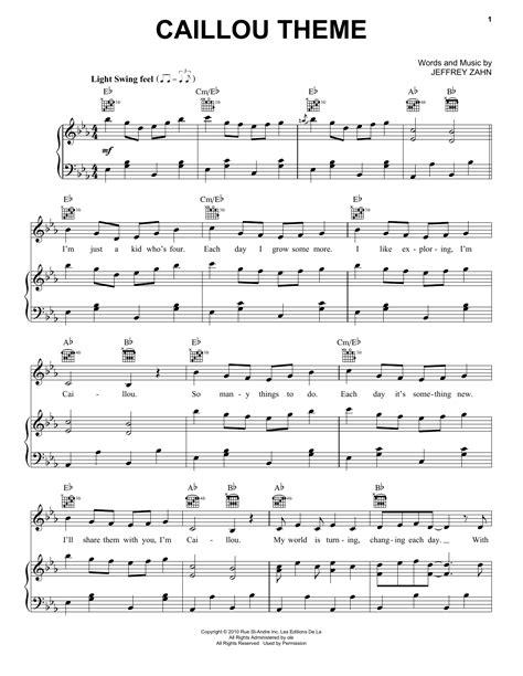 theme song caillou caillou theme sheet music direct