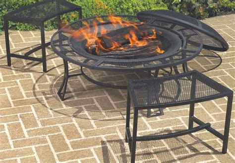 Portable Patio Pit Steel Pit 2 Benches Chairs Cover Set Outdoor Living