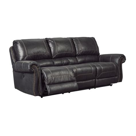 Ashley Milhaven Reclining Faux Leather Sofa In Black 6330388 Faux Leather Reclining Sofa