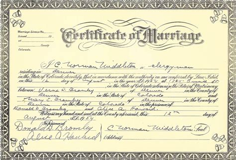 Colorado State Marriage Records Verne Denton Bromley