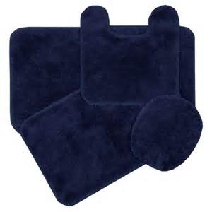 Navy Bathroom Rugs New Royale Navy Blue Bath Rug Ensemble Ebay