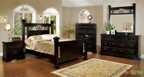 sonoma country espresso poster bedroom set  rod iron design cmex