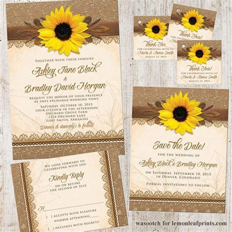 sunflower wedding invites rustic sunflower burlap and lace wedding invitation