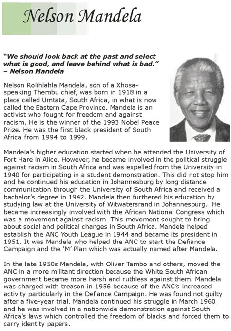 nelson mandela biography in simple english grade 7 reading lesson 14 biographies nelson mandela 1