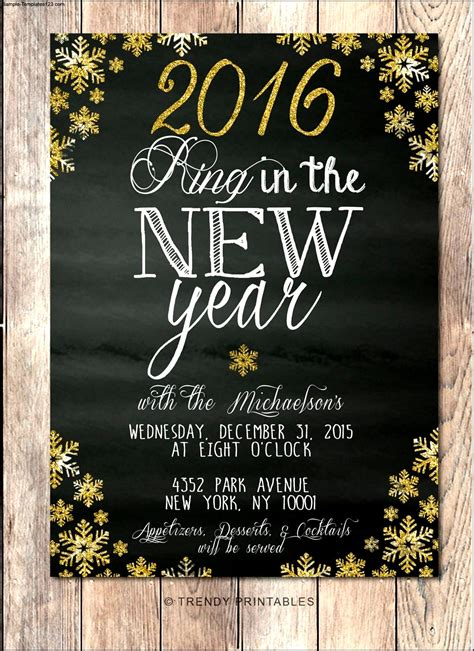 new year template new years invitation printable sle templates