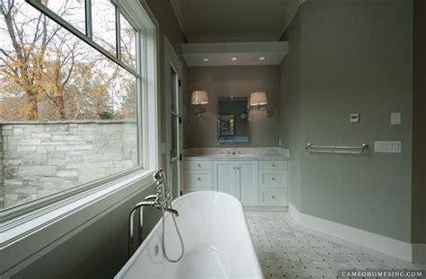 sage bathroom blue gray subway tiles cottage bathroom lauren liess
