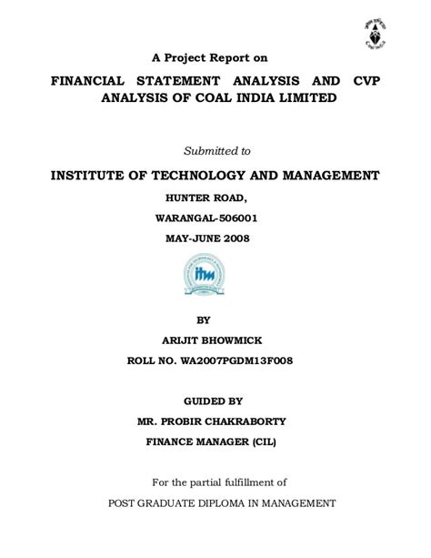 Mba Project Report On Financial Statement Analysis by Project Report On Financial Statement Analysis