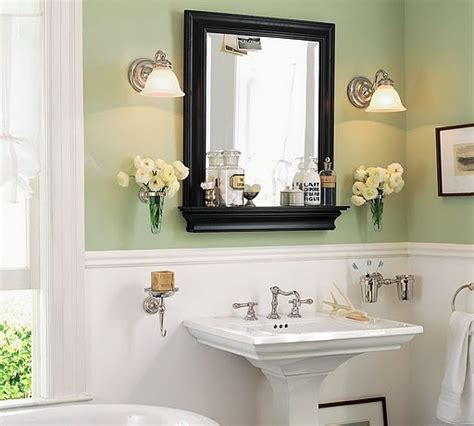 black framed mirrors for bathroom white wainscoting with pale green walls black framed