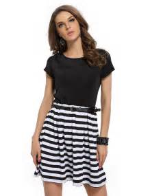 2015 new summer style black and white striped casual dress