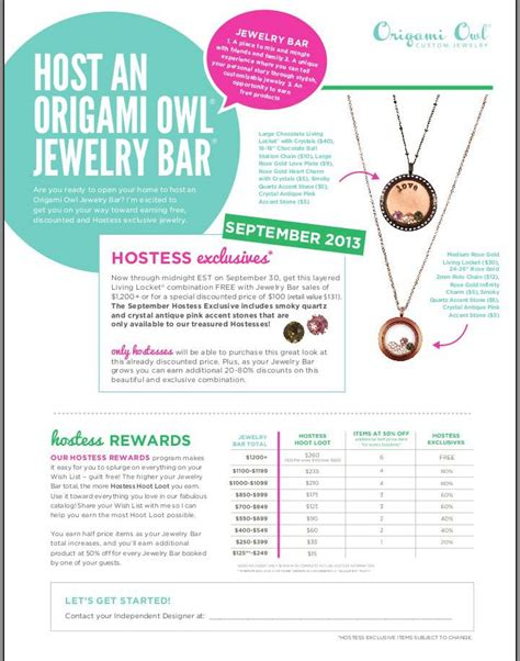Origami Owl Rewards - hostess rewards origami owl comot
