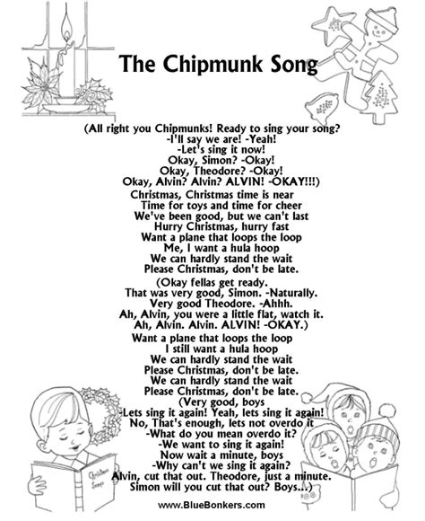 bluebonkers christmas lyrics bluebonkers the chipmunk song free printable carol lyrics sheets favorite
