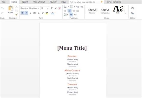informal event menu maker template for word