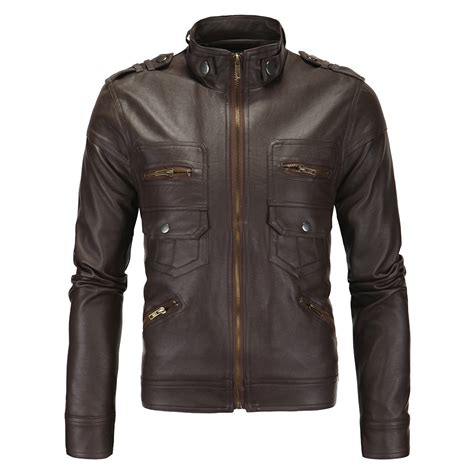 Faux Leather Stand Collar Jacket s zippers stand collar faux leather jacket 119938