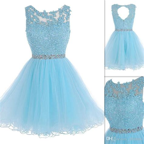 light blue dresses for teens light sky blue short prom dresses 2016 lace sheer neck