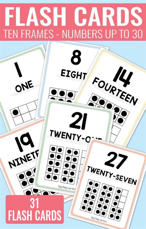 Printable Ten Frame Flash Cards Easy Peasy Learners