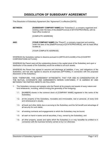 partnership dissolution agreement template sample form