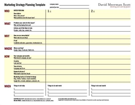 marketing strategy planning template free mr dashboard