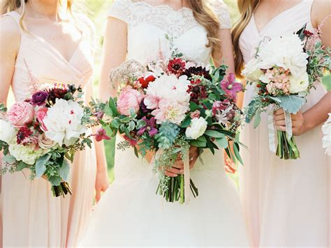 Wedding Flowers For And Bridesmaid by Bridesmaids With Blush And Burgundy Bouquets Burgundy