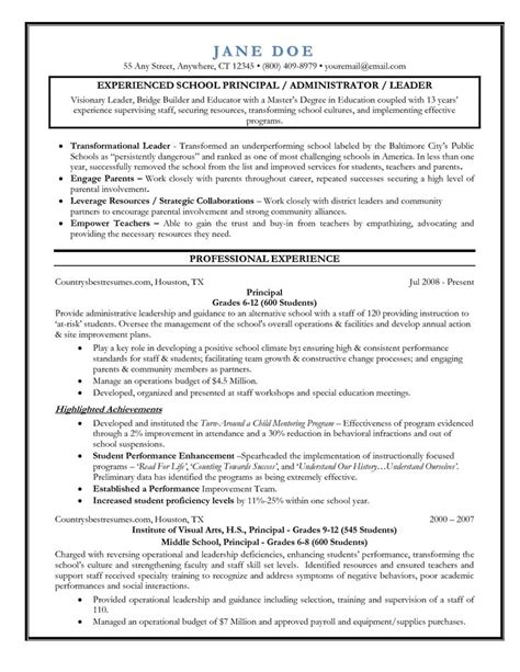 Exle Resume Elementary School To Principal Entry Level Assistant Principal Resume Templates Senior Educator Principal Resume Sle