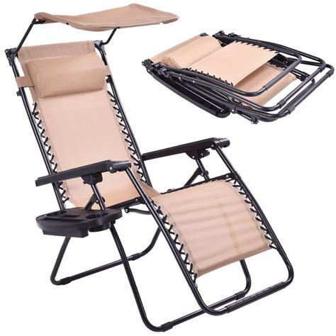 folding chair with shade beige folding recliner zero gravity lounge chair with