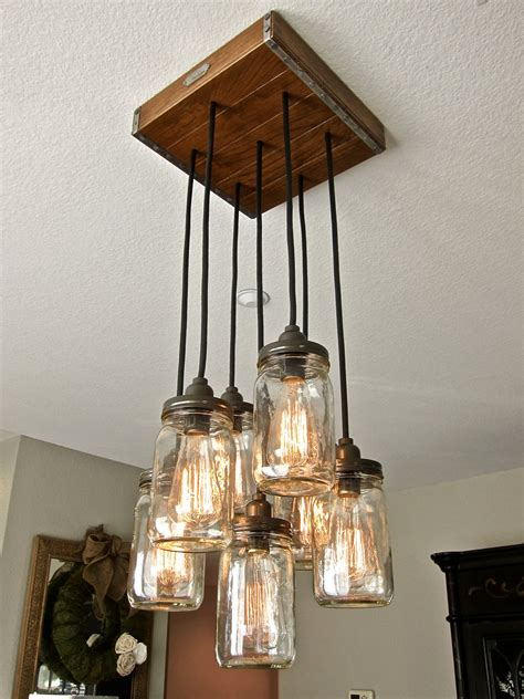 Chandelier Pendant Lights Jar Pendant Light Chandelier W Rustic Style Hardwood