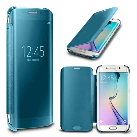 Flip Cover Mirror Samsung S7 Flat Flip View Flipcase Auto Lock new samsung galaxy s7 s7 edge mirror flip cover wallet with built in chip ebay