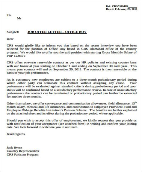 Offer Letter Sle From The Company 34 Offer Letter Formats Free Premium Templates