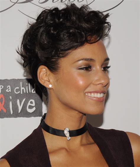 Alicia Keys Updo Curly Formal Hairstyle Dark Brunette Mocha | alicia keys updo medium curly formal wedding updo