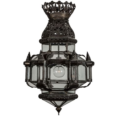 Large Glass Candle Lanterns Large Antique Tole And Glass Lantern At 1stdibs