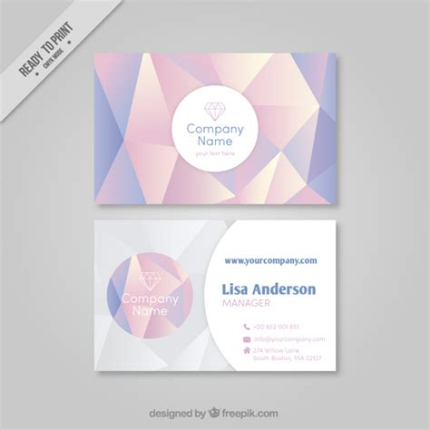 pastel color card templates polygonal business card with pastel colors vector
