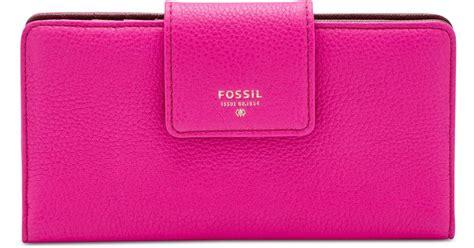 Dompet Fossil Sydney Tab Clutch Wallet Pink Stripe Leather Nwt fossil sydney leather tab clutch wallet in pink lyst