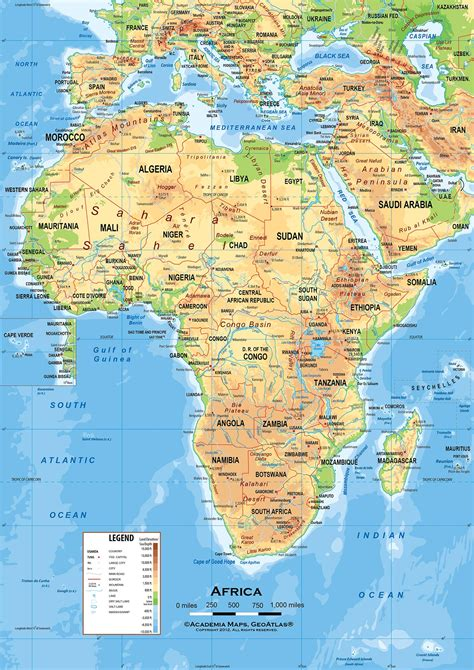africa physical features map africa map
