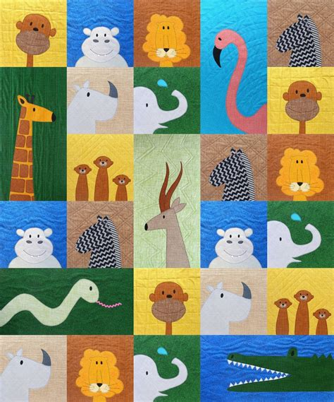 patchwork applique patterns safari applique quilt pattern shiny happy world