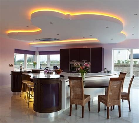 Lighting Ideas For Kitchen Unique Led Lighting For Modern Kitchen Decorating Ideas With Wooden Chairs And Stylish Cabinet